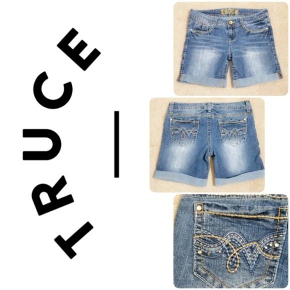 Truce Pants - Truce | Bermuda Cuffed Jean Rhinestone Shorts